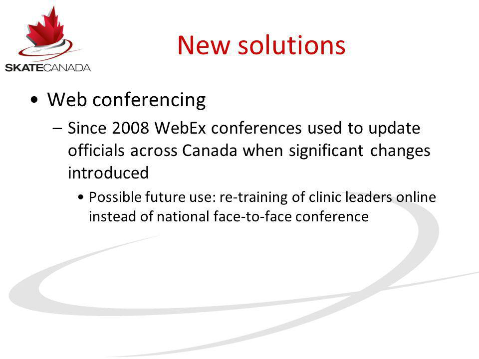 New solutions Web conferencing –Since 2008 WebEx conferences used to update officials across Canada when significant changes introduced Possible future use: re-training of clinic leaders online instead of national face-to-face conference