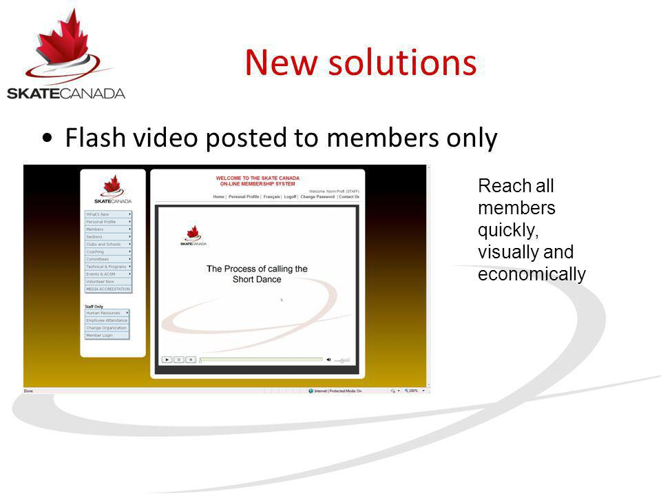 New solutions Flash video posted to members only Reach all members quickly, visually and economically