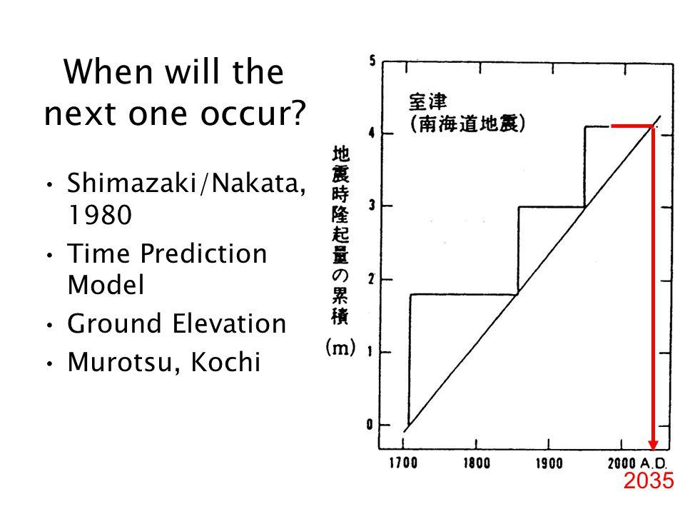 Shimazaki/Nakata, 1980 Time Prediction Model Ground Elevation Murotsu, Kochi When will the next one occur? 2035