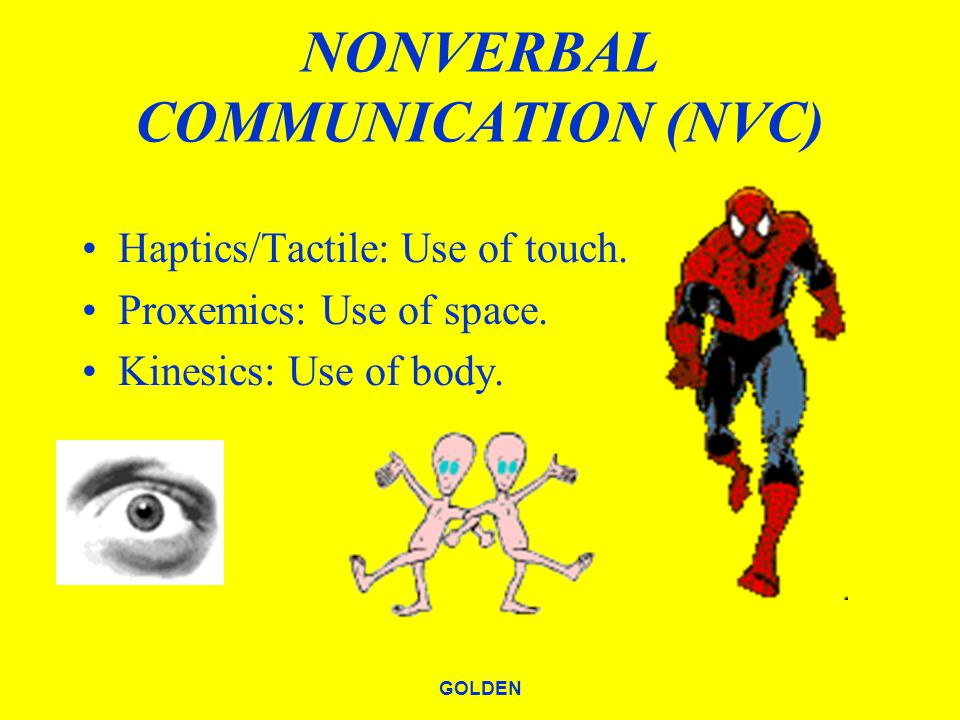 GOLDEN NONVERBAL COMMUNICATION (NVC) Haptics/Tactile: Use of touch.