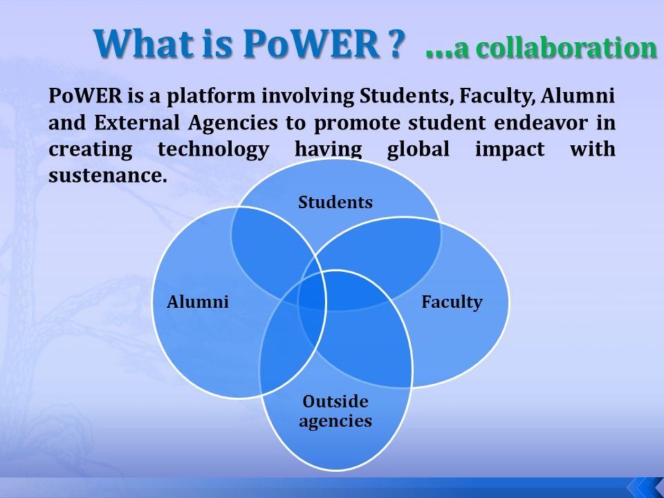 PoWER is a platform involving Students, Faculty, Alumni and External Agencies to promote student endeavor in creating technology having global impact with sustenance.
