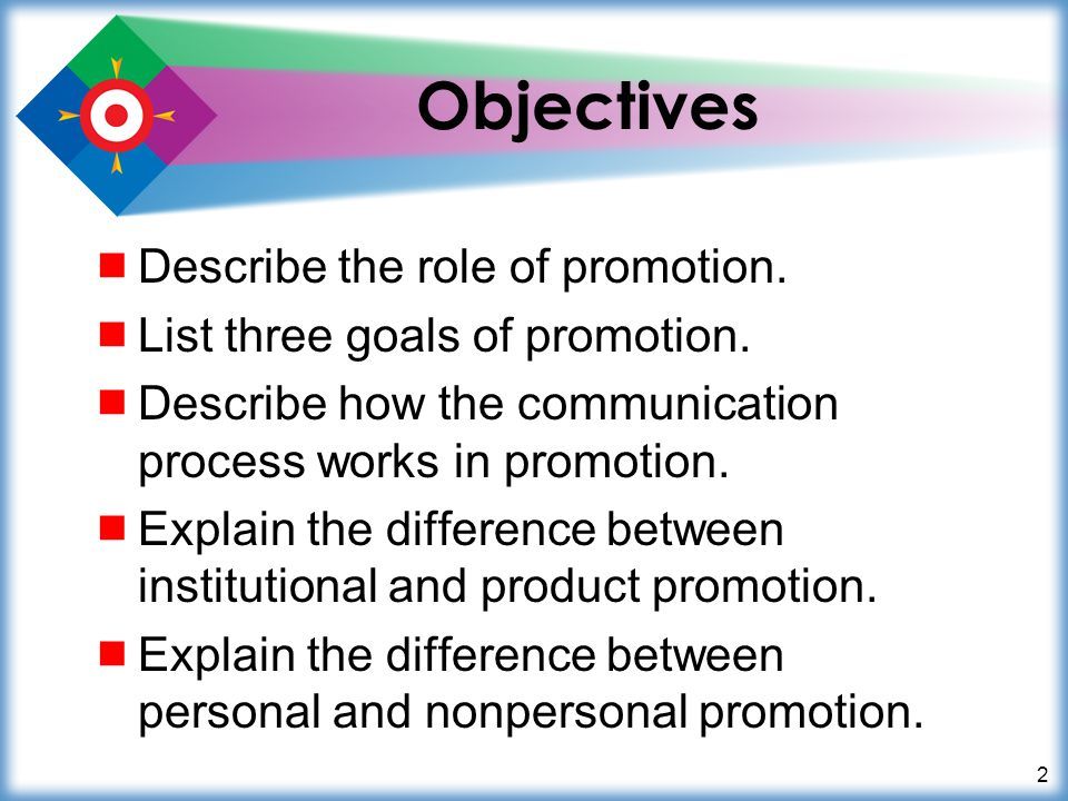 2 Objectives Describe the role of promotion. List three goals of promotion. Describe how the communication process works in promotion. Explain the dif