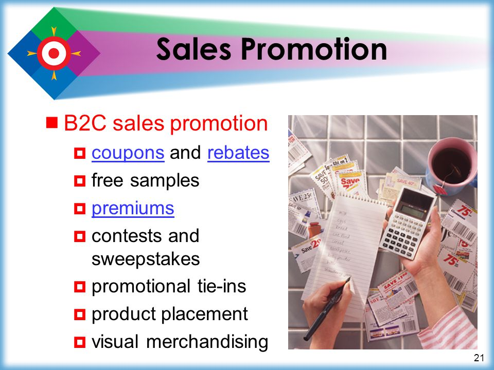 21 Sales Promotion B2C sales promotion coupons and rebates couponsrebates free samples premiums contests and sweepstakes promotional tie-ins product p