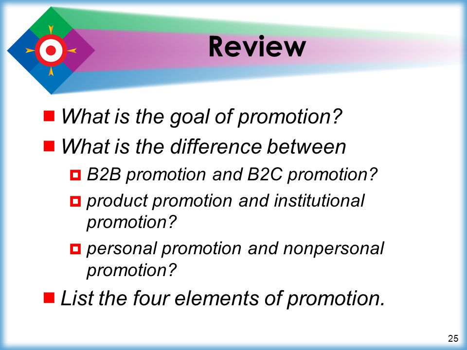 25 Review What is the goal of promotion? What is the difference between B2B promotion and B2C promotion? product promotion and institutional promotion