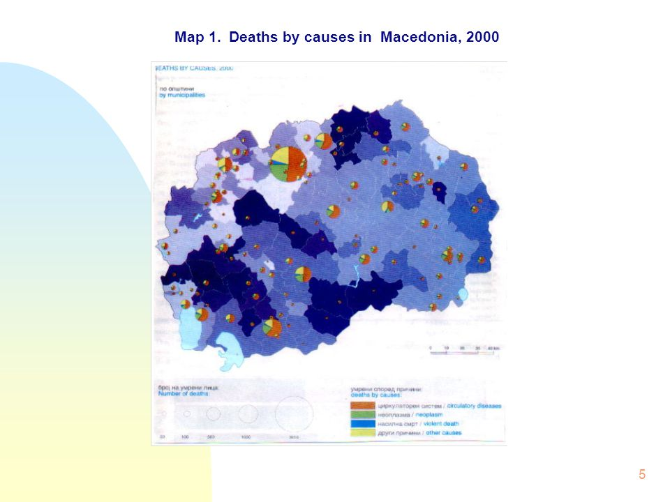 5 Map 1. Deaths by causes in Macedonia, 2000