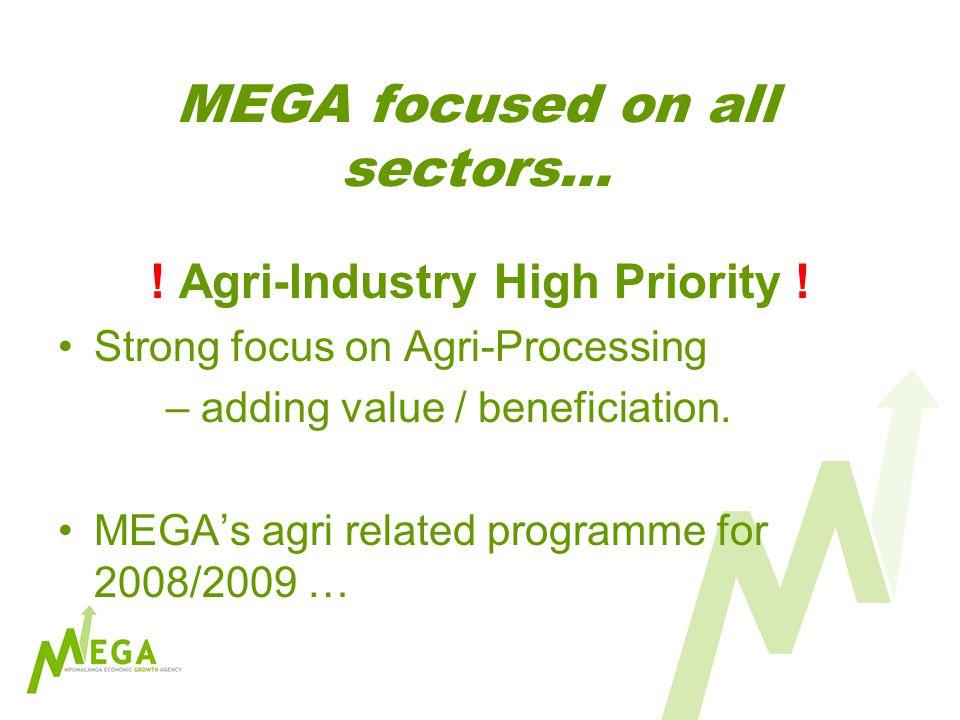 MEGA focused on all sectors… . Agri-Industry High Priority .