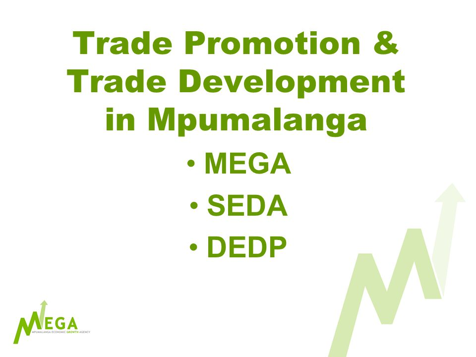 Trade Promotion & Trade Development in Mpumalanga MEGA SEDA DEDP