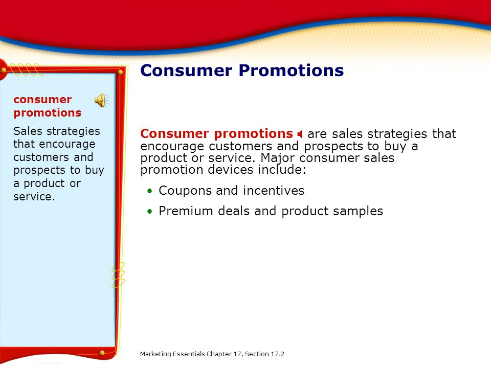consumer sales promotion techniques c When the consumer clicks an arrow on sales promotion and public relations there are a great many techniques that are considered sales promotion.