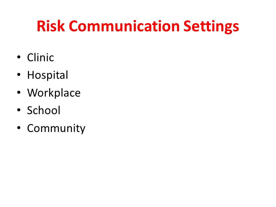 Risk Communication Settings Clinic Hospital Workplace School Community