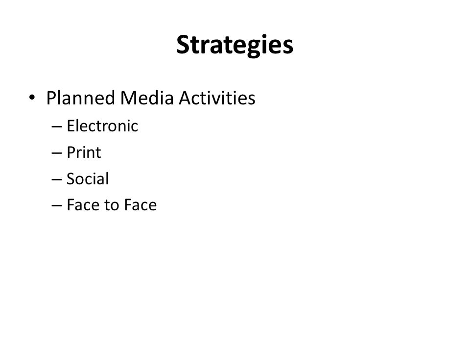 Strategies Planned Media Activities – Electronic – Print – Social – Face to Face