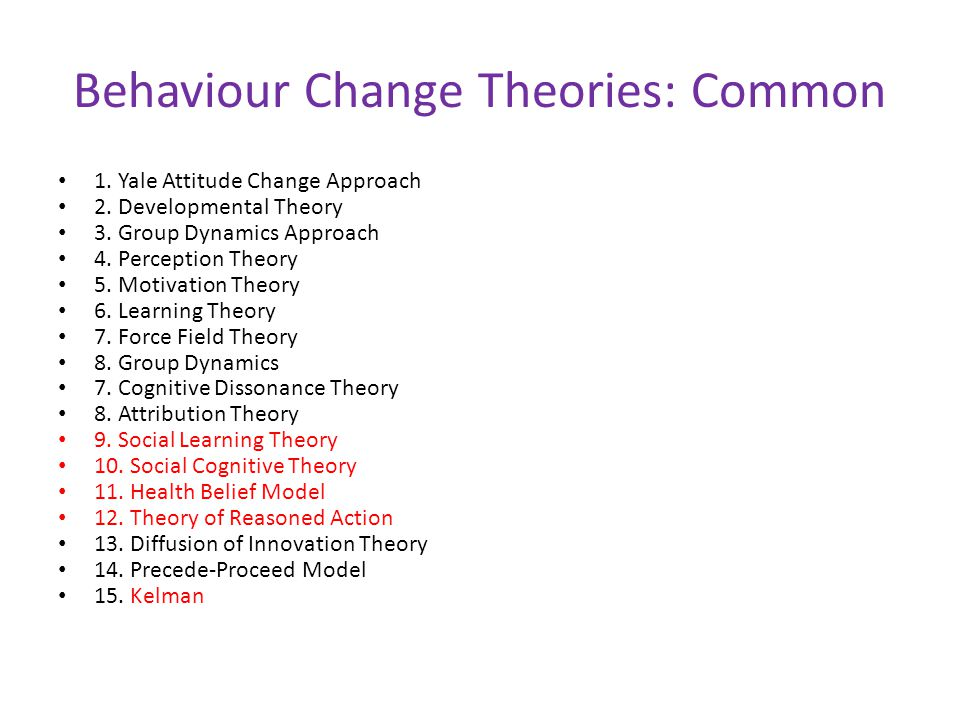 Behaviour Change Theories: Common 1. Yale Attitude Change Approach 2. Developmental Theory 3. Group Dynamics Approach 4. Perception Theory 5. Motivati