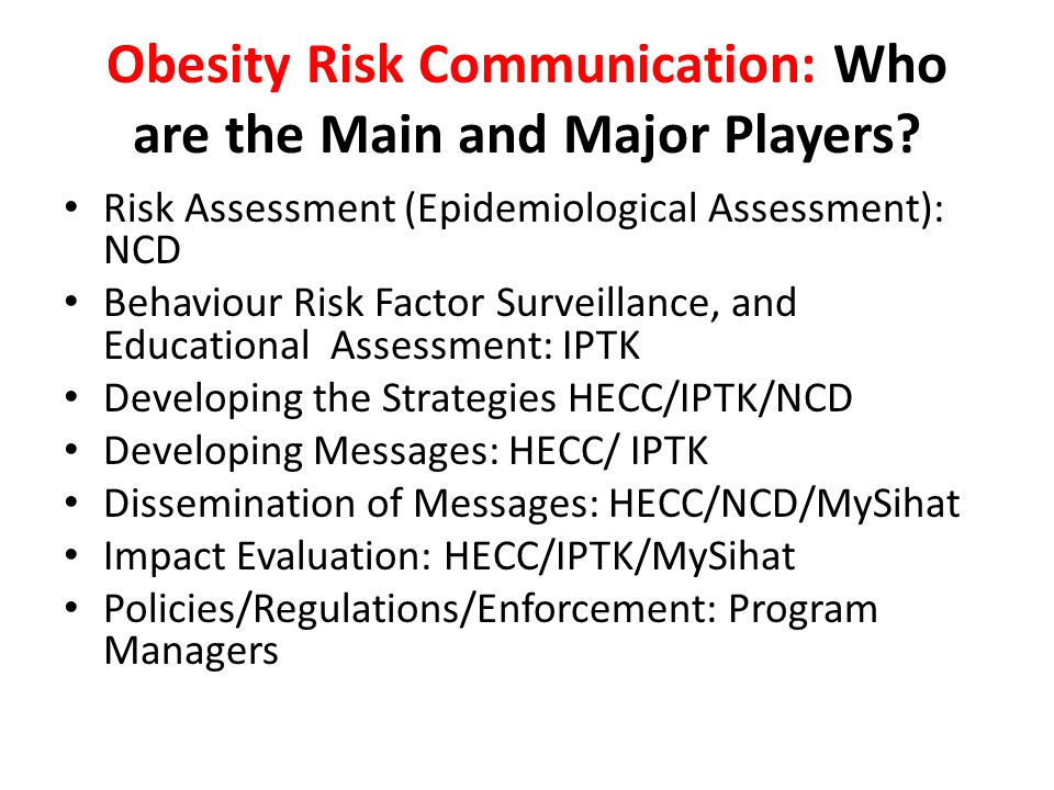 Obesity Risk Communication: Who are the Main and Major Players? Risk Assessment (Epidemiological Assessment): NCD Behaviour Risk Factor Surveillance,