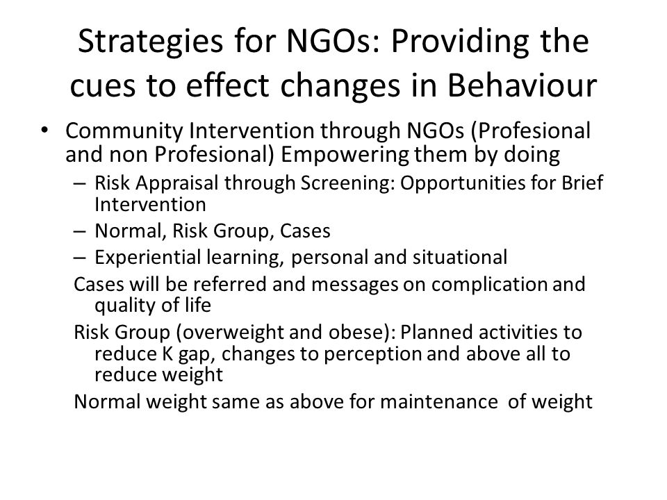 Strategies for NGOs: Providing the cues to effect changes in Behaviour Community Intervention through NGOs (Profesional and non Profesional) Empowerin
