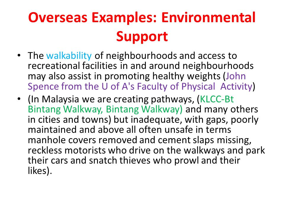 Overseas Examples: Environmental Support The walkability of neighbourhoods and access to recreational facilities in and around neighbourhoods may also