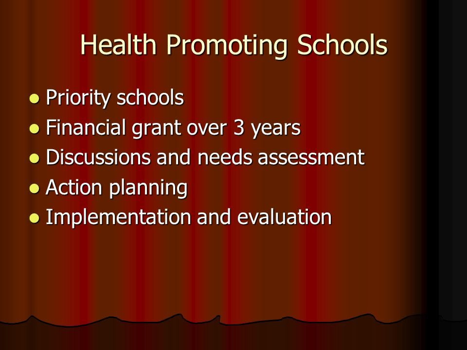 Health Promoting Schools Priority schools Priority schools Financial grant over 3 years Financial grant over 3 years Discussions and needs assessment Discussions and needs assessment Action planning Action planning Implementation and evaluation Implementation and evaluation