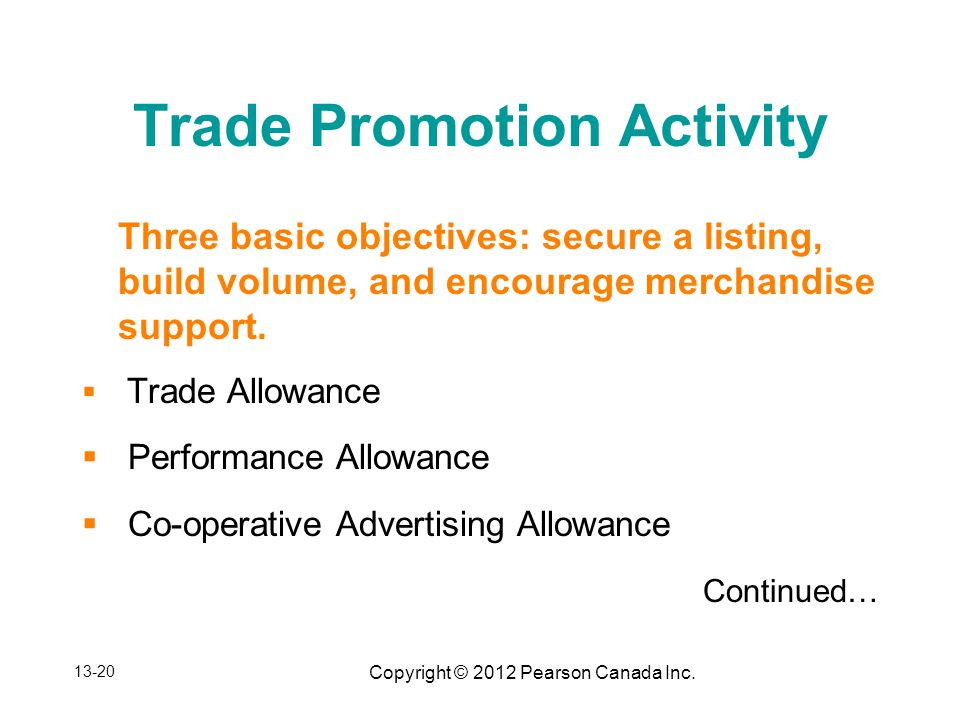 Copyright © 2012 Pearson Canada Inc. Trade Promotion Activity Three basic objectives: secure a listing, build volume, and encourage merchandise suppor