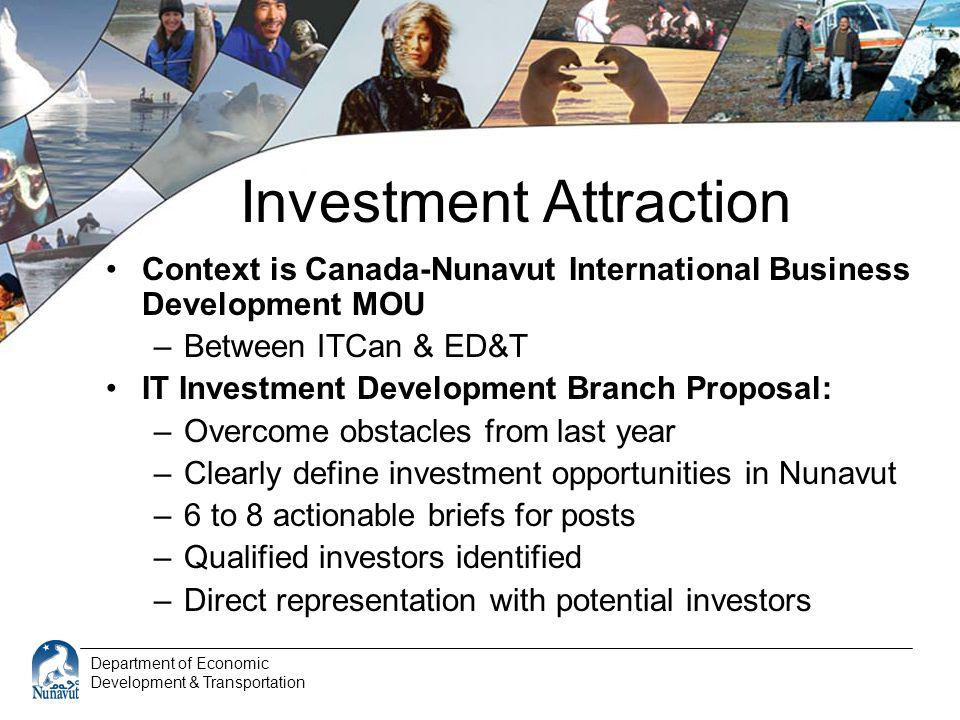 Department of Economic Development & Transportation Investment Attraction Context is Canada-Nunavut International Business Development MOU –Between IT