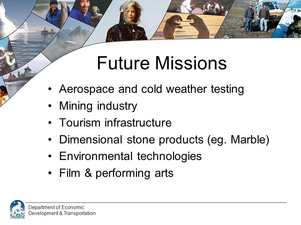Department of Economic Development & Transportation Future Missions Aerospace and cold weather testing Mining industry Tourism infrastructure Dimensio