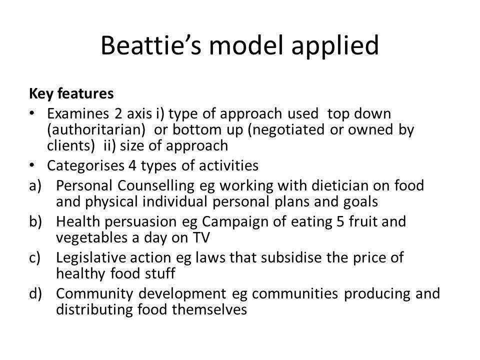 Beatties model applied Key features Examines 2 axis i) type of approach used top down (authoritarian) or bottom up (negotiated or owned by clients) ii
