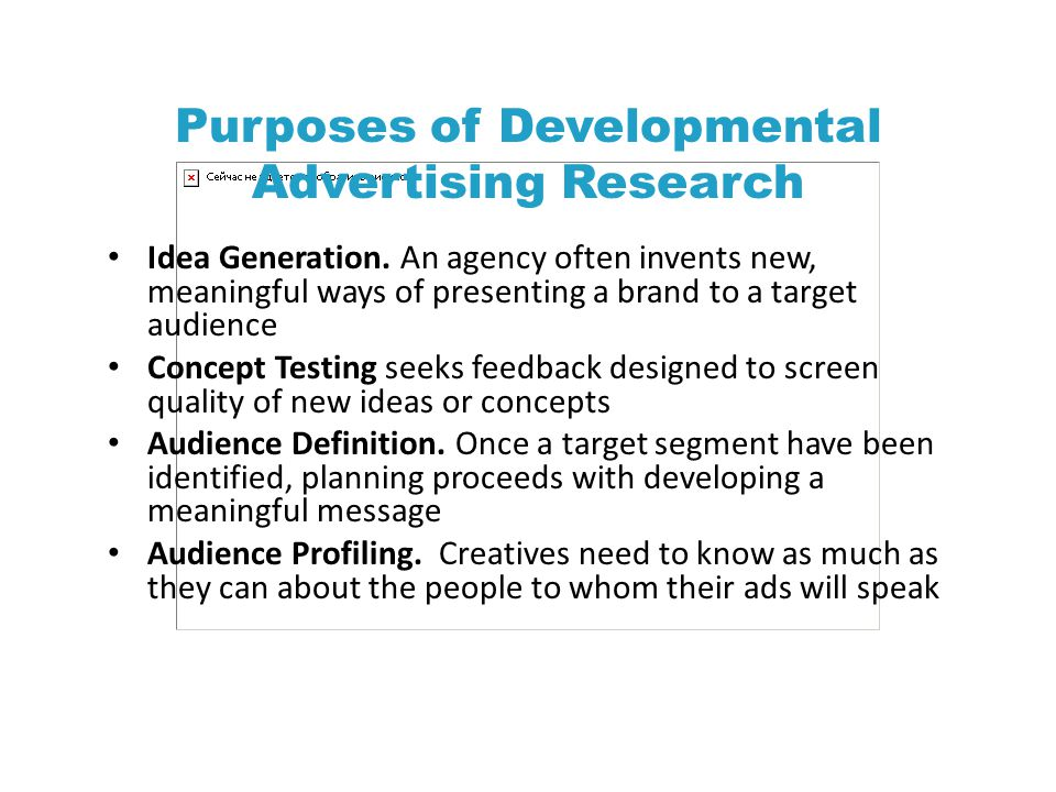 Purposes of Developmental Advertising Research Idea Generation.