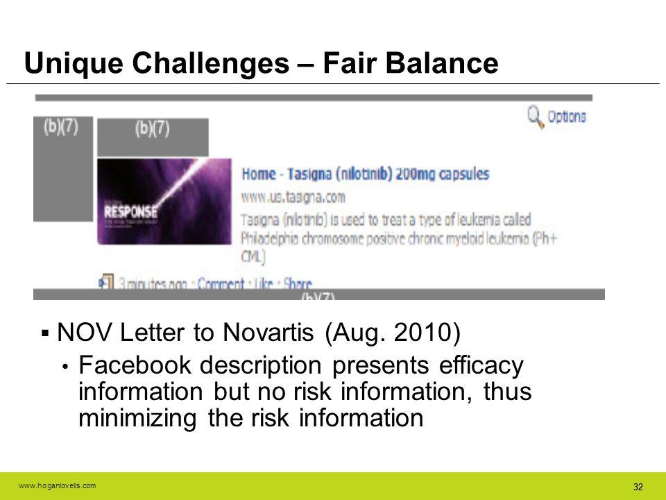 www.hoganlovells.com 32 NOV Letter to Novartis (Aug. 2010) Facebook description presents efficacy information but no risk information, thus minimizing