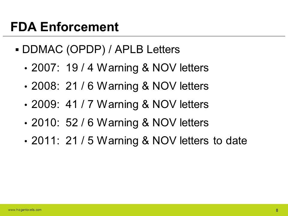 www.hoganlovells.com 88 FDA Enforcement DDMAC (OPDP) / APLB Letters 2007: 19 / 4 Warning & NOV letters 2008: 21 / 6 Warning & NOV letters 2009: 41 / 7