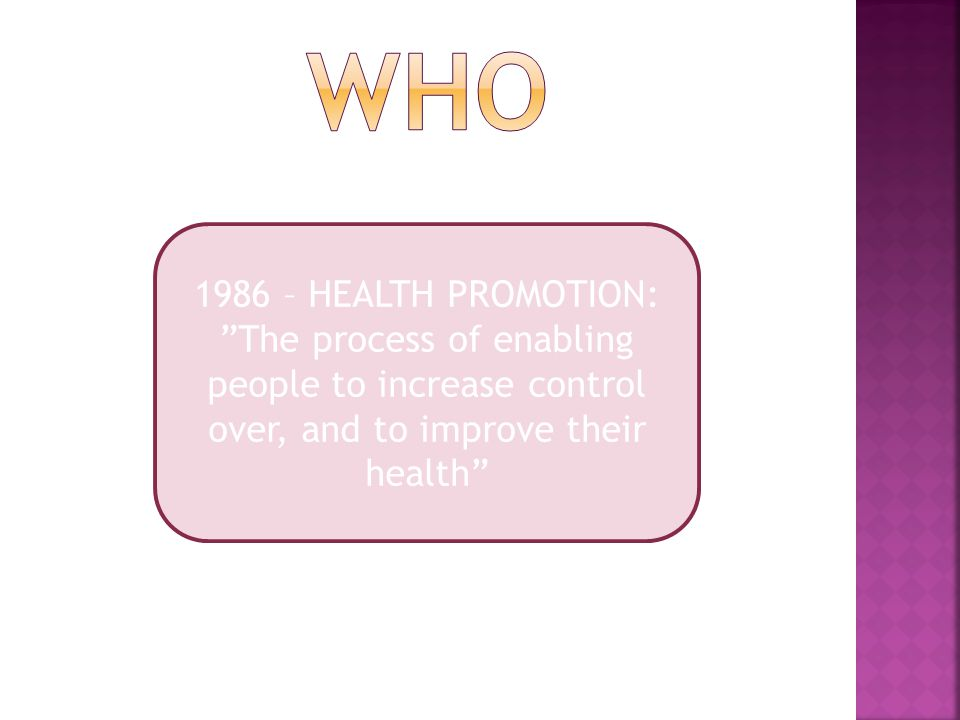 1986 – HEALTH PROMOTION: The process of enabling people to increase control over, and to improve their health