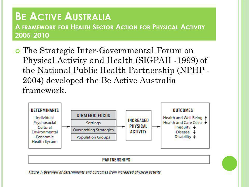 The Strategic Inter-Governmental Forum on Physical Activity and Health (SIGPAH -1999) of the National Public Health Partnership (NPHP - 2004) developed the Be Active Australia framework.