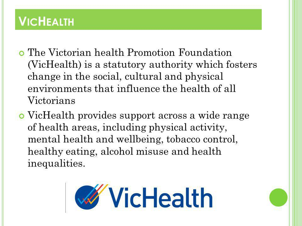The Victorian health Promotion Foundation (VicHealth) is a statutory authority which fosters change in the social, cultural and physical environments that influence the health of all Victorians VicHealth provides support across a wide range of health areas, including physical activity, mental health and wellbeing, tobacco control, healthy eating, alcohol misuse and health inequalities.
