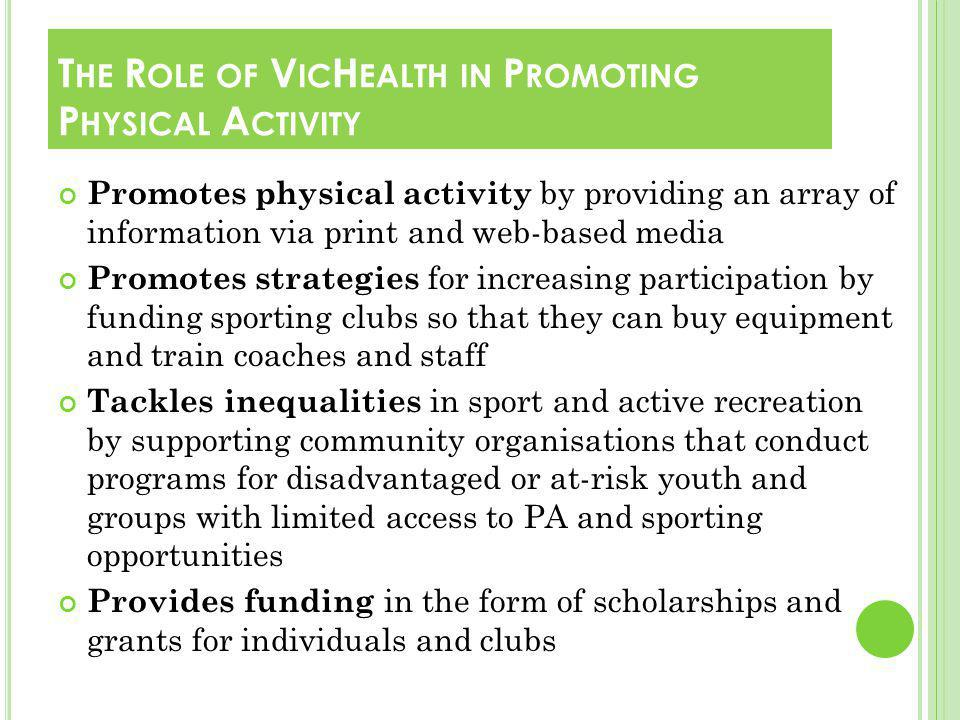 Promotes physical activity by providing an array of information via print and web-based media Promotes strategies for increasing participation by funding sporting clubs so that they can buy equipment and train coaches and staff Tackles inequalities in sport and active recreation by supporting community organisations that conduct programs for disadvantaged or at-risk youth and groups with limited access to PA and sporting opportunities Provides funding in the form of scholarships and grants for individuals and clubs T HE R OLE OF V IC H EALTH IN P ROMOTING P HYSICAL A CTIVITY