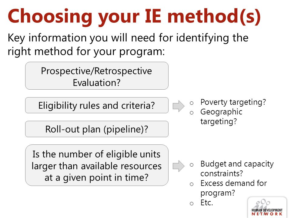 Choosing your IE method(s) Prospective/Retrospective Evaluation? Eligibility rules and criteria? Roll-out plan (pipeline)? Is the number of eligible u
