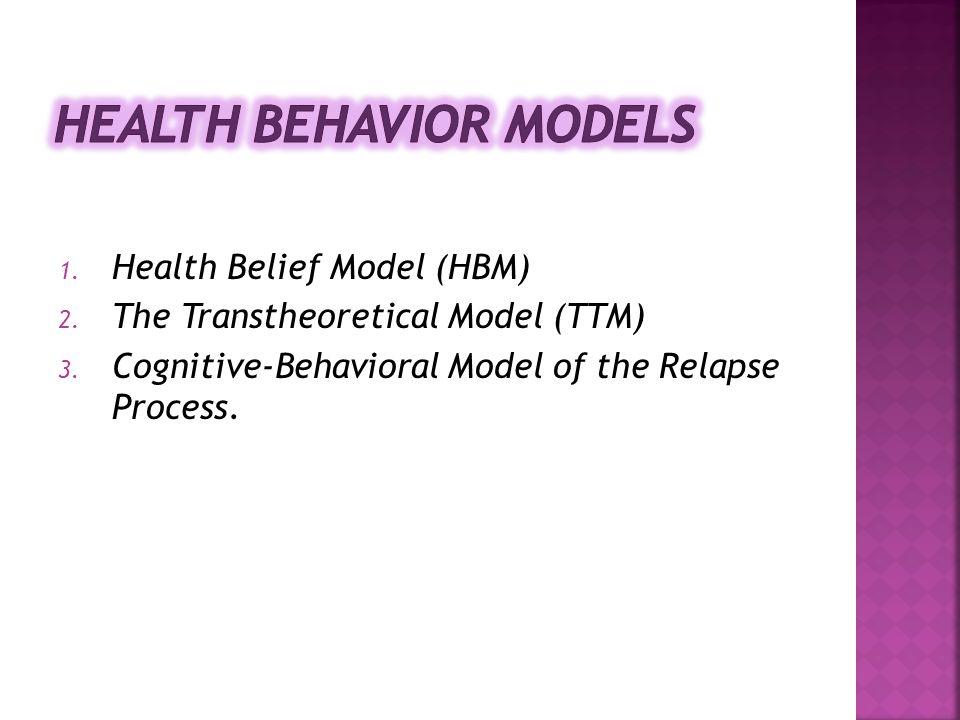 1. Health Belief Model (HBM) 2. The Transtheoretical Model (TTM) 3. Cognitive-Behavioral Model of the Relapse Process.