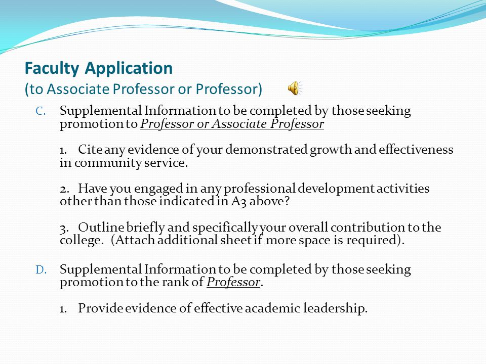 Faculty Application (to Associate Professor or Professor) C.