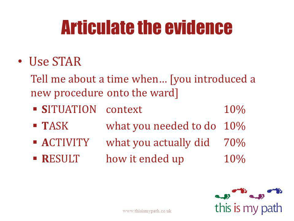 Articulate the evidence Use STAR Tell me about a time when… [you introduced a new procedure onto the ward] SITUATION context 10% TASK what you needed to do 10% ACTIVITY what you actually did 70% RESULT how it ended up 10% www.thisismypath.co.uk