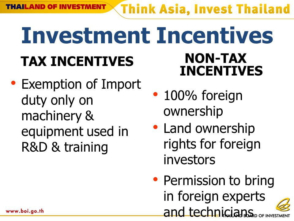 TAX INCENTIVES Exemption of Import duty only on machinery & equipment used in R&D & training NON-TAX INCENTIVES 100% foreign ownership Land ownership rights for foreign investors Permission to bring in foreign experts and technicians Work permit & visa facilitation Investment Incentives