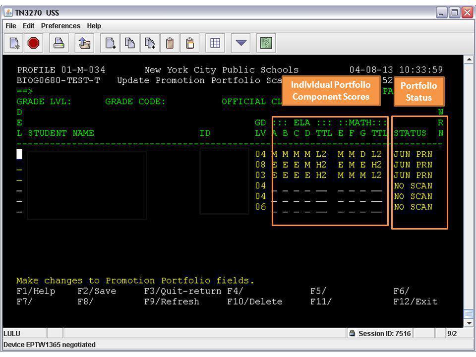 Individual Portfolio Component Scores Portfolio Status