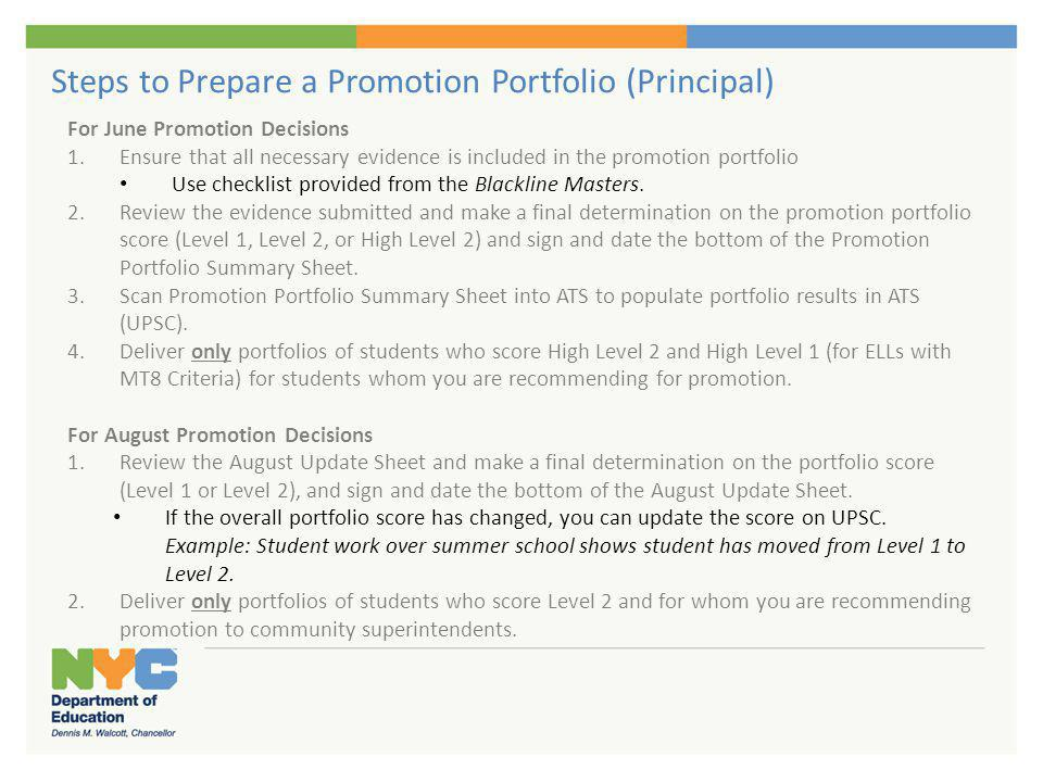 Steps to Prepare a Promotion Portfolio (Principal) For June Promotion Decisions 1.Ensure that all necessary evidence is included in the promotion port