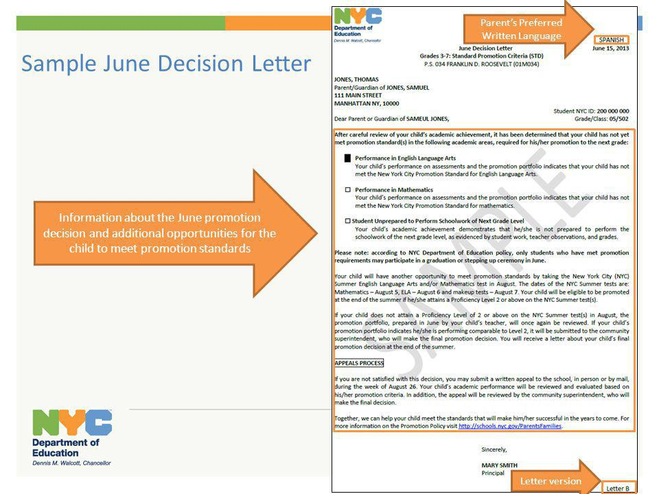Sample June Decision Letter Parents Preferred Written Language Letter version Information about the June promotion decision and additional opportuniti
