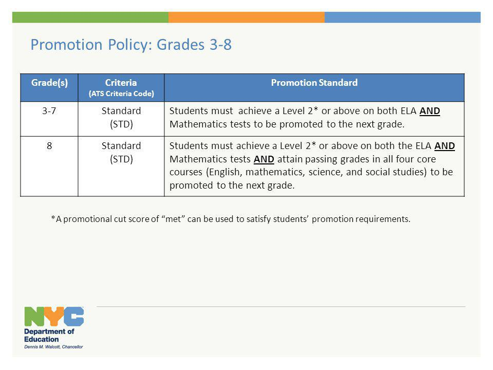 Promotion Policy: Grades 3-8 Grade(s)Criteria (ATS Criteria Code) Promotion Standard 3-7Standard (STD) Students must achieve a Level 2* or above on bo