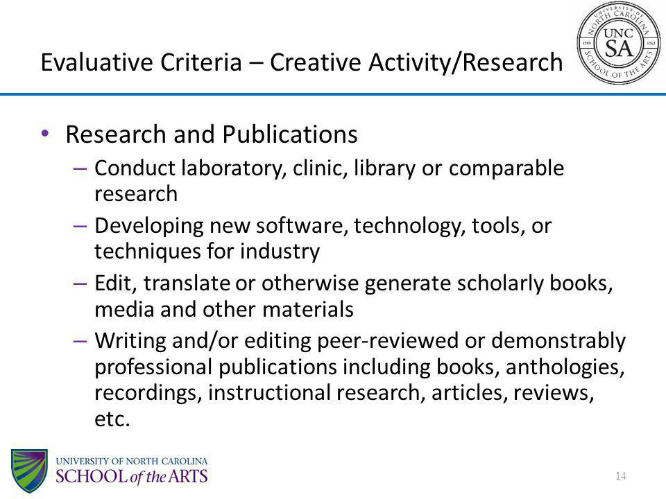 Evaluative Criteria – Creative Activity/Research Research and Publications – Conduct laboratory, clinic, library or comparable research – Developing n