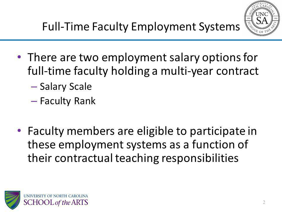 Full-Time Faculty Employment Systems There are two employment salary options for full-time faculty holding a multi-year contract – Salary Scale – Facu