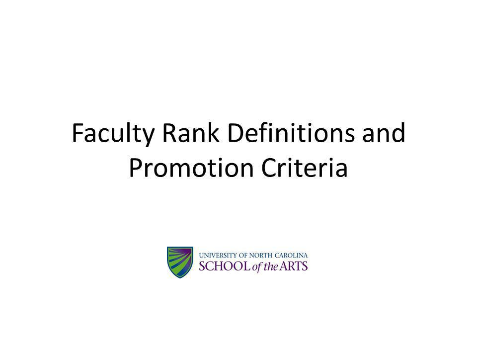 Faculty Rank Definitions and Promotion Criteria