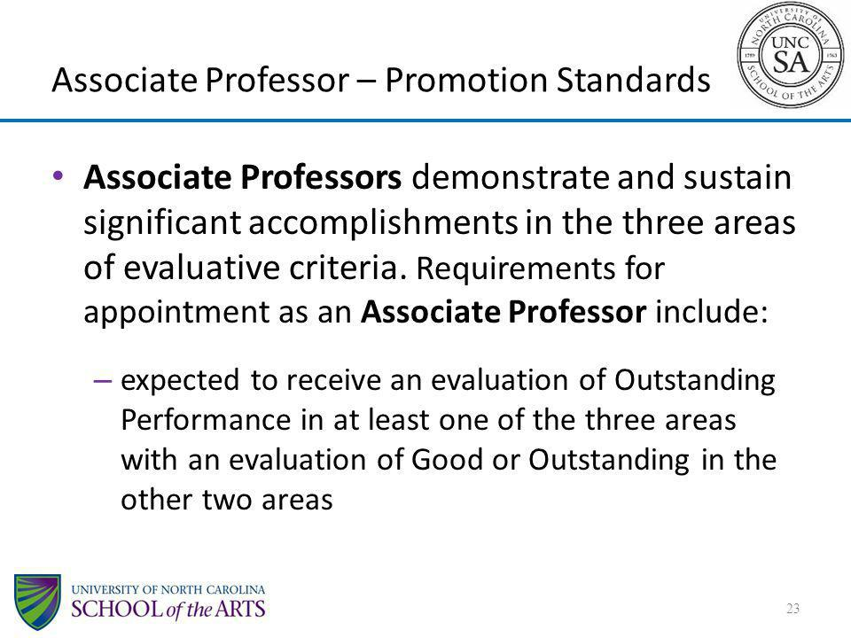 Associate Professors demonstrate and sustain significant accomplishments in the three areas of evaluative criteria. Requirements for appointment as an