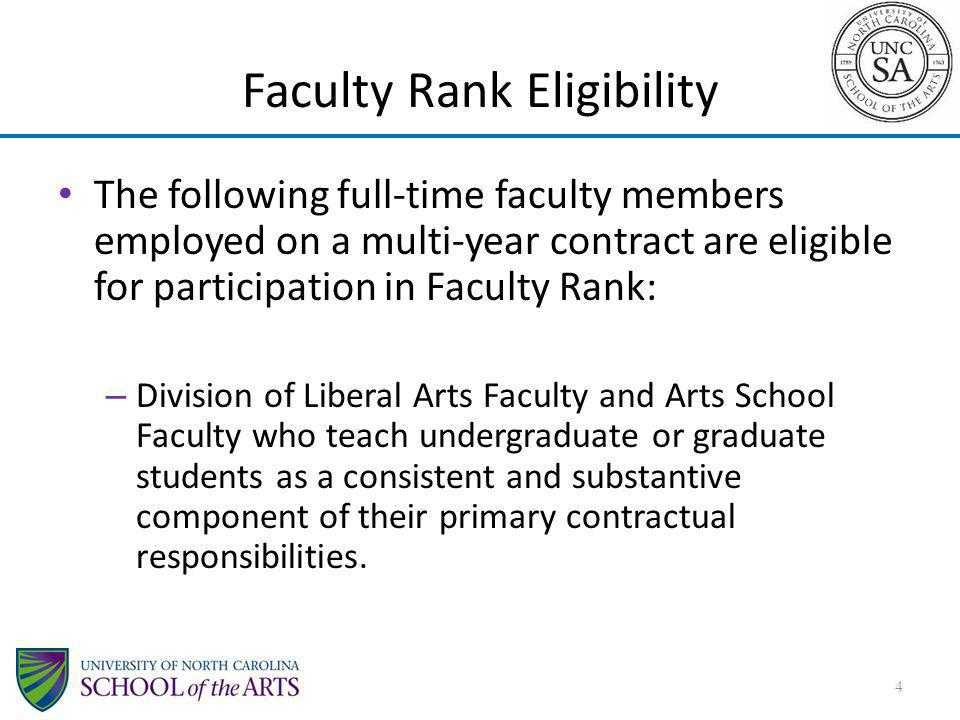 Faculty Rank Eligibility The following full-time faculty members employed on a multi-year contract are eligible for participation in Faculty Rank: – D