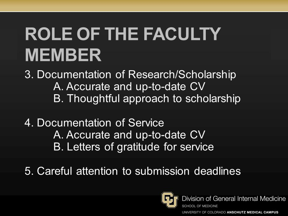ROLE OF THE FACULTY MEMBER 3. Documentation of Research/Scholarship A. Accurate and up-to-date CV B. Thoughtful approach to scholarship 4. Documentati
