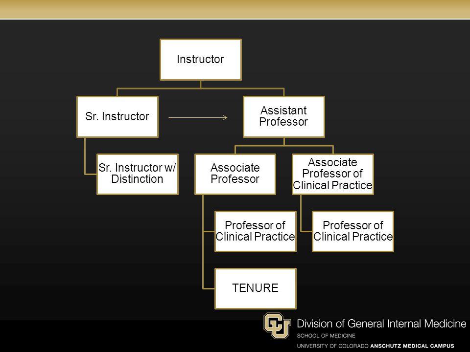 Instructor Sr. Instructor Sr. Instructor w/ Distinction Assistant Professor Associate Professor Professor of Clinical Practice TENURE Associate Profes