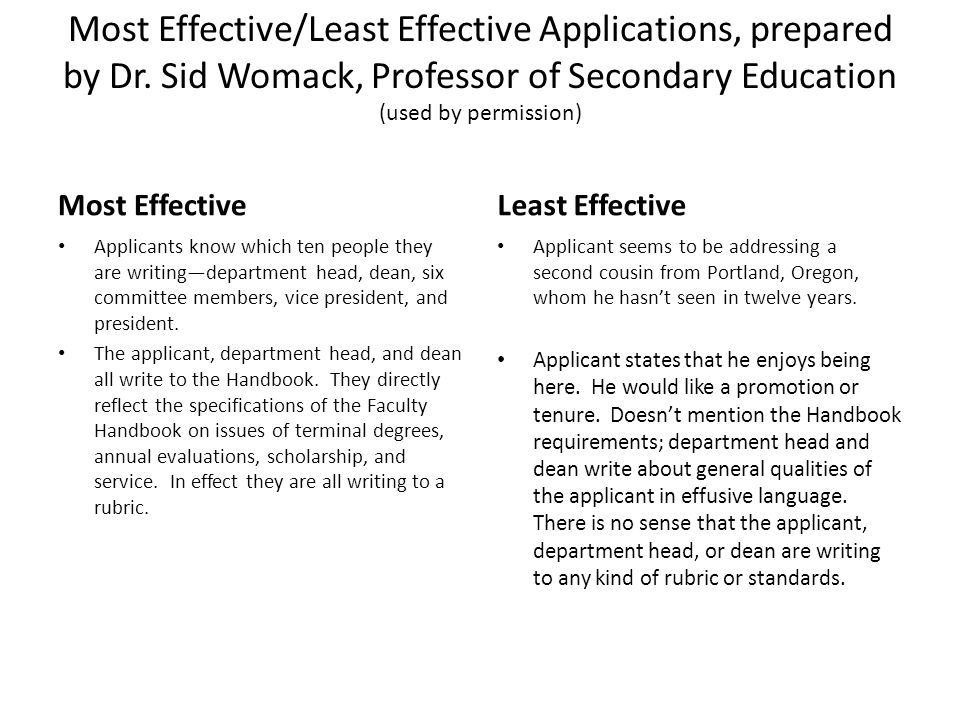 Most/Least Effective Contd Most Effective Applicants letter is one to two pages long.