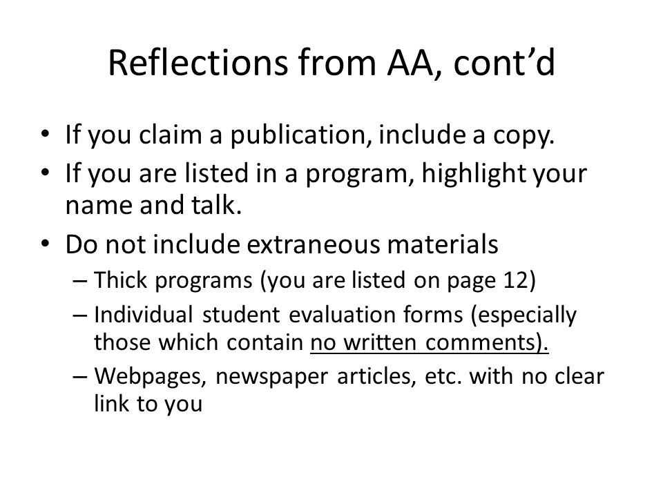 Reflections from AA, contd Books/booklets/programs, if included, should be clearly labeled as to their pertinence.