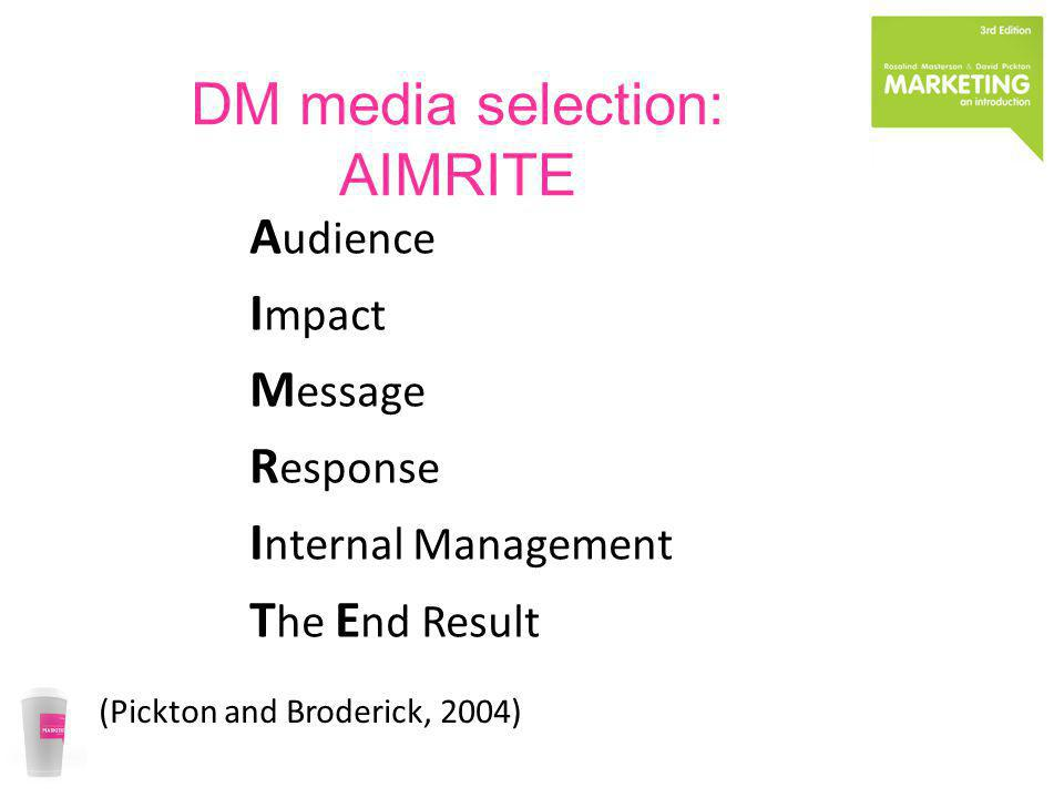 DM media selection: AIMRITE A udience I mpact M essage R esponse I nternal Management T he E nd Result (Pickton and Broderick, 2004)