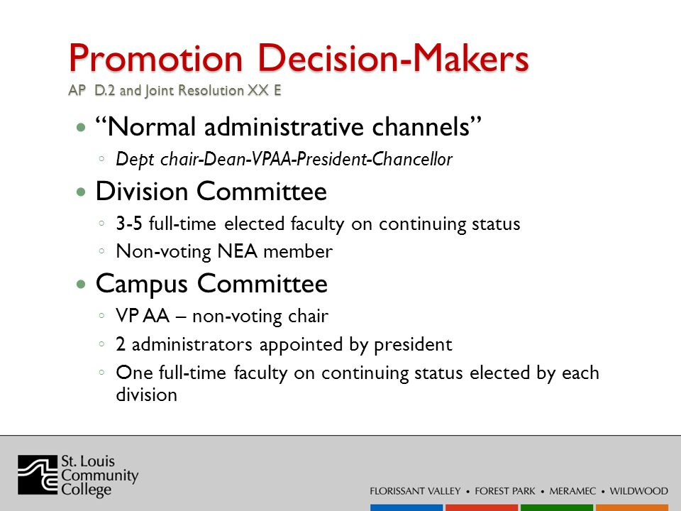 Promotion Decision-Makers AP D.2 and Joint Resolution XX E Normal administrative channels Dept chair-Dean-VPAA-President-Chancellor Division Committee 3-5 full-time elected faculty on continuing status Non-voting NEA member Campus Committee VP AA – non-voting chair 2 administrators appointed by president One full-time faculty on continuing status elected by each division